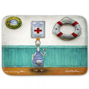 Decorative Bathroom Mats | Will Bullas - No Running Either | Duck pool swimming martini titanic animal nature pun joke