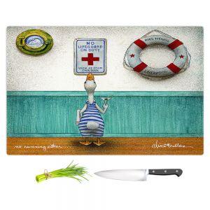 Artistic Kitchen Bar Cutting Boards | Will Bullas - No Running Either | Duck pool swimming martini titanic animal nature pun joke