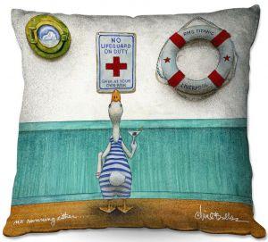 Throw Pillows Decorative Artistic   Will Bullas - No Running Either   Duck pool swimming martini titanic animal nature pun joke