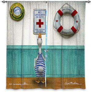 Decorative Window Treatments | Will Bullas - No Running Either | Duck pool swimming martini titanic animal nature pun joke