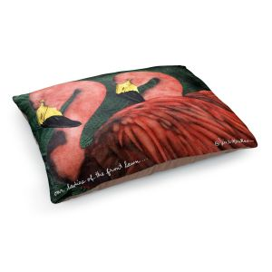 Decorative Dog Pet Beds | Will Bullas - Our Ladies of the Front Lawn | Flamingo bird nature wild animal pun joke