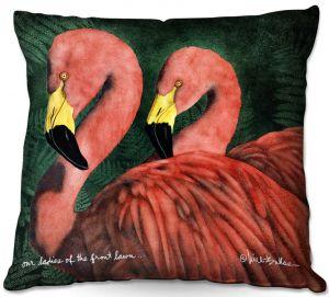 Throw Pillows Decorative Artistic   Will Bullas - Our Ladies of the Front Lawn   Flamingo bird nature wild animal pun joke