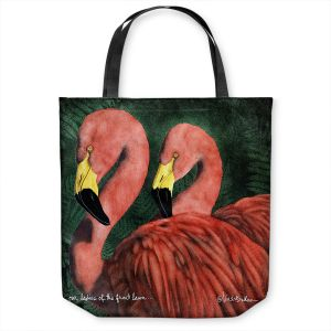 Unique Shoulder Bag Tote Bags | Will Bullas - Our Ladies of the Front Lawn | Flamingo bird nature wild animal pun joke