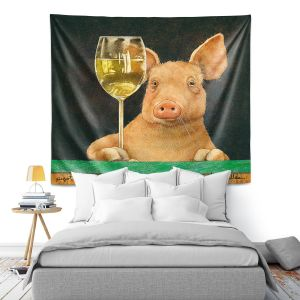 Artistic Wall Tapestry | Will Bullas - Pigot Grigio | Pig hog wine bar drink alcohol pun joke