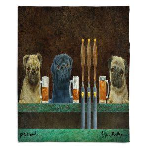 Decorative Fleece Throw Blankets | Will Bullas - Pug Crawl | dog canine beer tap bar drink alcohol beer pun joke
