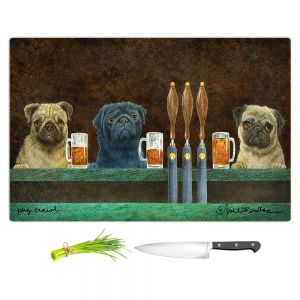 Artistic Kitchen Bar Cutting Boards | Will Bullas - Pug Crawl | dog canine beer tap bar drink alcohol beer pun joke