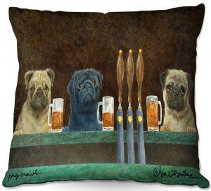 Throw Pillows Decorative Artistic   Will Bullas - Pug Crawl   dog canine beer tap bar drink alcohol beer pun joke