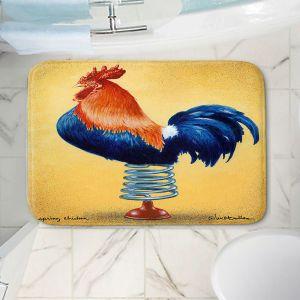 Decorative Bathroom Mats | Will Bullas - Spring Chicken | Rooster bird farm joke pun bounce