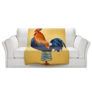 Artistic Sherpa Pile Blankets   Will Bullas - Spring Chicken   Rooster bird farm joke pun bounce