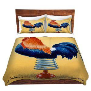 Artistic Duvet Covers and Shams Bedding | Will Bullas - Spring Chicken | Rooster bird farm joke pun bounce