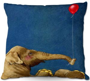 Decorative Outdoor Patio Pillow Cushion | Will Bullas - The Red Balloon Elephant