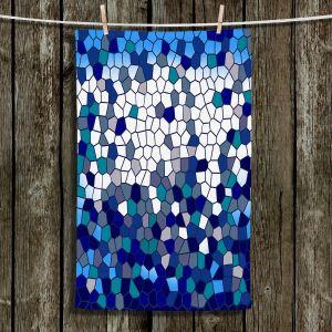 Unique Bathroom Towels | Yasmin Dadabhoy - Blue Mosaic 1 | Geometric Pattern