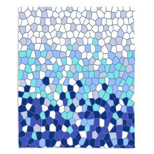 Decorative Fleece Throw Blankets | Yasmin Dadabhoy - Blue Mosaic 2 | Geometric Pattern