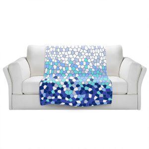 Artistic Sherpa Pile Blankets   Yasmin Dadabhoy - Blue Mosaic 2   Geometric Pattern