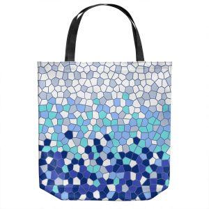 Unique Shoulder Bag Tote Bags | Yasmin Dadabhoy - Blue Mosaic 2 | Geometric Pattern