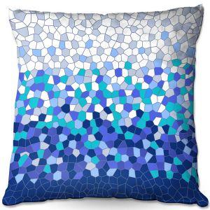 Throw Pillows Decorative Artistic | Yasmin Dadabhoy - Blue Mosaic 3 | Geometric Pattern