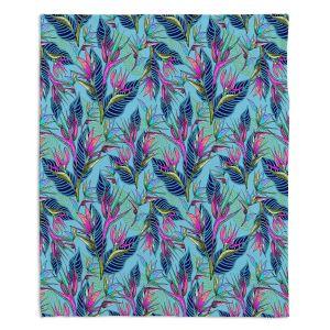 Decorative Fleece Throw Blankets | Yasmin Dadabhoy - Blue Tropical | floral nature abstract pattern