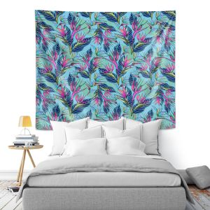 Artistic Wall Tapestry   Yasmin Dadabhoy - Blue Tropical   floral nature abstract pattern