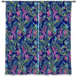 Decorative Window Treatments | Yasmin Dadabhoy - Blue Tropical 2 | Flowers Pattern Leaves Nature