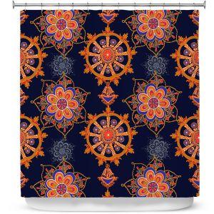 Premium Shower Curtains | Yasmin Dadabhoy - Boho Circle 3 | Geometric Flowers