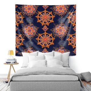 Artistic Wall Tapestry | Yasmin Dadabhoy - Boho Circle 3 | Geometric Flowers