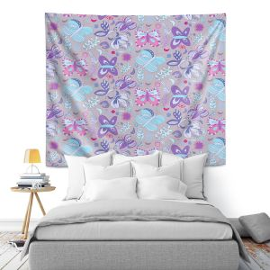 Artistic Wall Tapestry | Yasmin Dadabhoy - Butterflies Blue Purple | insect pattern nature