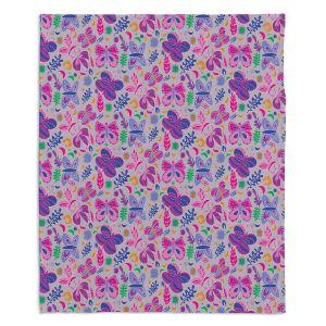 Decorative Fleece Throw Blankets | Yasmin Dadabhoy - Butterflies Grey Pink | insect pattern nature