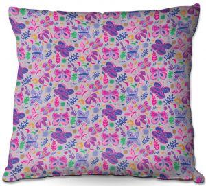Decorative Outdoor Patio Pillow Cushion | Yasmin Dadabhoy - Butterflies Grey Pink | insect pattern nature