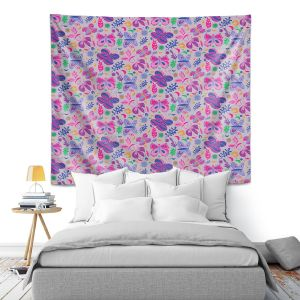 Artistic Wall Tapestry | Yasmin Dadabhoy - Butterflies Grey Pink | insect pattern nature