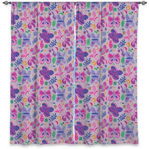 Decorative Window Treatments | Yasmin Dadabhoy - Butterflies Grey Pink | insect pattern nature