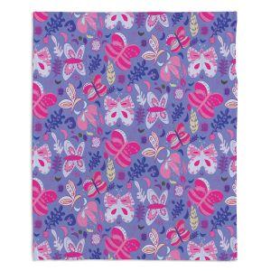Artistic Sherpa Pile Blankets | Yasmin Dadabhoy - Butterflies Pink Purple | insect pattern nature