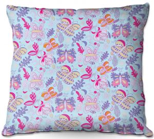 Decorative Outdoor Patio Pillow Cushion | Yasmin Dadabhoy - Butterflies Purple Pink | insect pattern nature