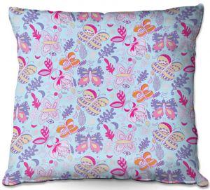 Decorative Outdoor Patio Pillow Cushion | Yasmin Dadabhoy - Butterflies Purple Pink | insect pattern nature
