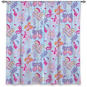 Decorative Window Treatments | Yasmin Dadabhoy - Butterflies Purple Pink | insect pattern nature