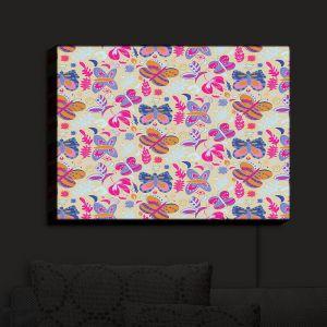 Nightlight Sconce Canvas Light | Yasmin Dadabhoy - Butterflies Tan Pink Yellow