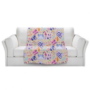 Artistic Sherpa Pile Blankets   Yasmin Dadabhoy - Butteflies Tan Purple   insect pattern nature
