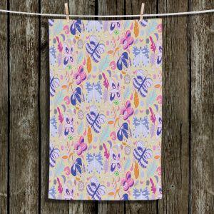 Unique Hanging Tea Towels | Yasmin Dadabhoy - Butteflies Tan Purple | insect pattern nature