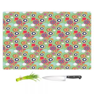 Artistic Kitchen Bar Cutting Boards | Yasmin Dadabhoy - Circles Green Yellow | shape geometric pattern
