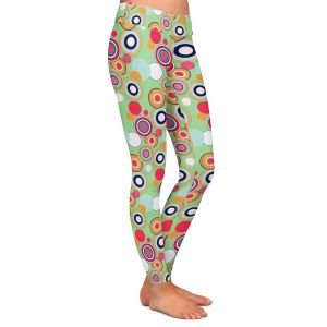 Casual Comfortable Leggings | Yasmin Dadabhoy - Circles Green Yellow | shape geometric pattern