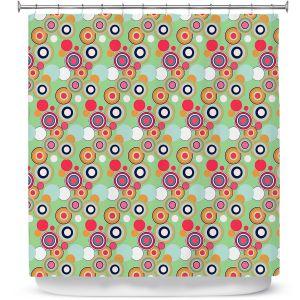 Premium Shower Curtains | Yasmin Dadabhoy - Circles Green Yellow | shape geometric pattern