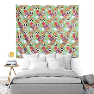 Artistic Wall Tapestry | Yasmin Dadabhoy - Circles Green Yellow | shape geometric pattern
