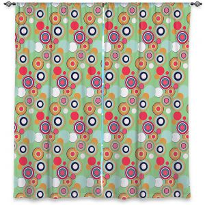 Decorative Window Treatments | Yasmin Dadabhoy - Circles Green Yellow | shape geometric pattern