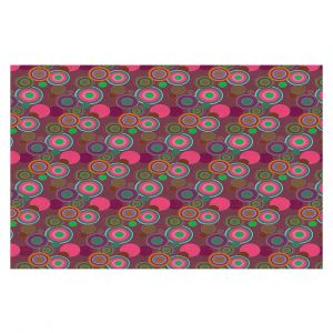 Decorative Floor Covering Mats | Yasmin Dadabhoy - Circles Pink Olive | shape geometric pattern