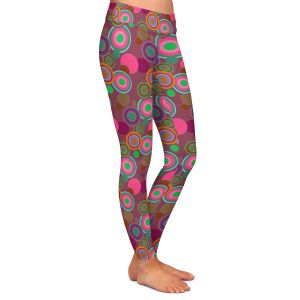 Casual Comfortable Leggings | Yasmin Dadabhoy - Circles Pink Olive | shape geometric pattern