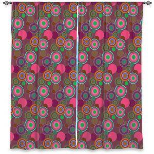 Decorative Window Treatments | Yasmin Dadabhoy - Circles Pink Olive | shape geometric pattern
