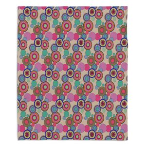 Decorative Fleece Throw Blankets | Yasmin Dadabhoy - Circles Pink Tan | shape geometric pattern
