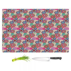 Artistic Kitchen Bar Cutting Boards | Yasmin Dadabhoy - Circles Pink Tan | shape geometric pattern