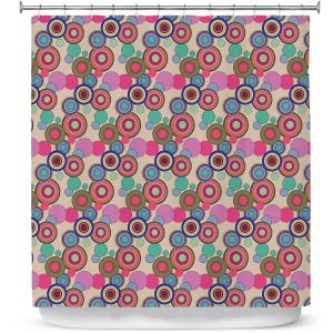 Premium Shower Curtains | Yasmin Dadabhoy - Circles Pink Tan | shape geometric pattern