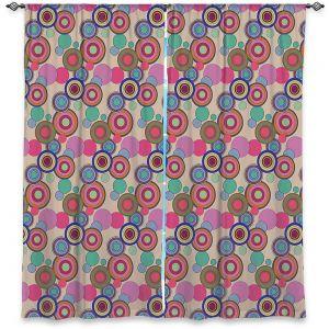 Decorative Window Treatments | Yasmin Dadabhoy - Circles Pink Tan | shape geometric pattern