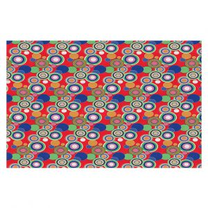 Decorative Floor Covering Mats | Yasmin Dadabhoy - Circles Red Blue | shape geometric pattern